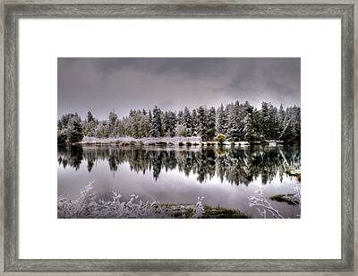 The Red Canoe Framed Print by Donna Kennedy