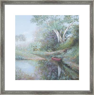 The Red Canoe Framed Print by Jan Matson