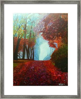 Framed Print featuring the painting The Red Cathedral - A Journey Of Peace And Serenity by Belinda Low
