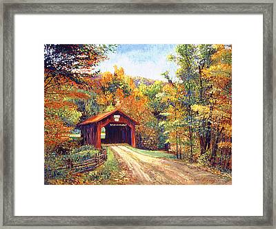 The Red Covered Bridge Framed Print by David Lloyd Glover