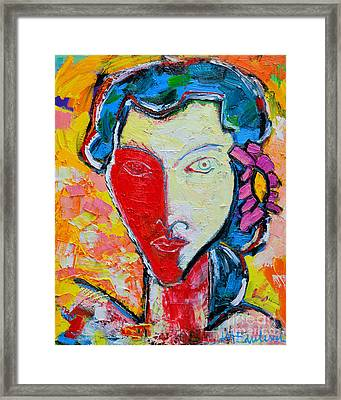 The Red Half Expressionist Girl Portrait  Framed Print by Ana Maria Edulescu