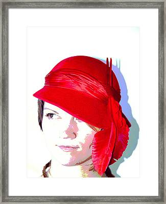 The Red Hat II Framed Print by  Andrea Lazar