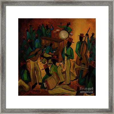 The Red Hat Octet And Friends Framed Print by Larry Martin