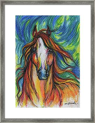 The Red Horse Framed Print by Angel  Tarantella