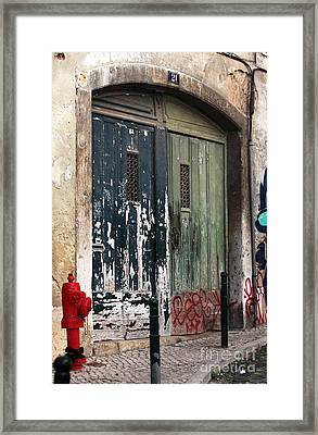 The Red Hydrant Framed Print by John Rizzuto