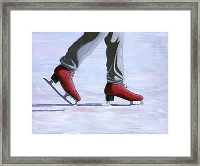 The Red Ice Skates Framed Print by Karyn Robinson