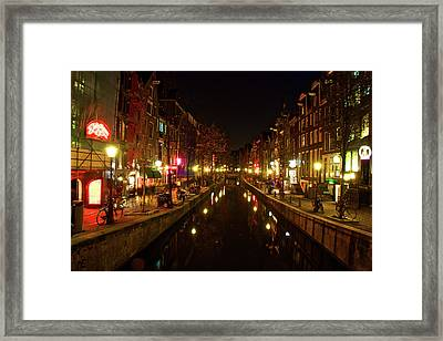 The Red Lights Of Amsterdam Framed Print