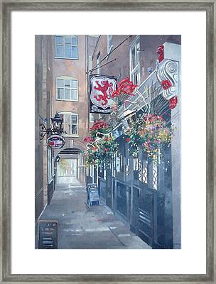 The Red Lion, Crown Passage, St. Jamess, London Oil On Canvas Framed Print by Peter Miller