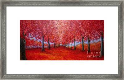 Framed Print featuring the painting The Red Maples Alley by Marie-Line Vasseur