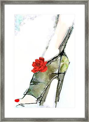 The Red Peony Shoe Framed Print by Carolyn Weltman