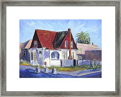 Framed Print featuring the painting The Red Roof House by Asha Carolyn Young