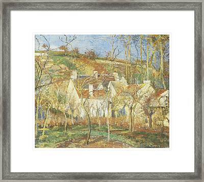 The Red Roofs Corner Of A Village Winter Framed Print by Camille Pissarro