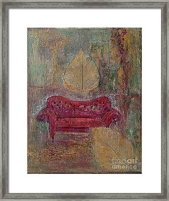 The Red Sofa Framed Print by Delona Seserman