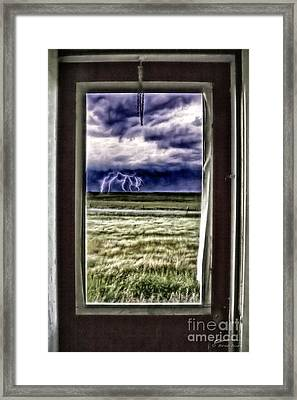 Framed Print featuring the photograph The Red Storm Door by Brad Allen Fine Art