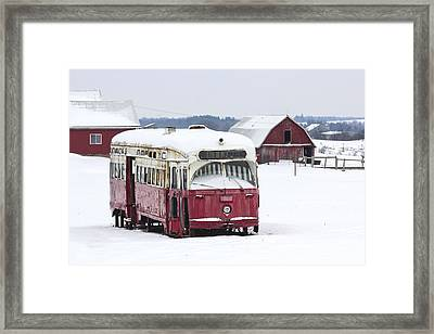 The Red Streetcar Framed Print by Nick Mares