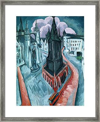 The Red Tower In Halle Framed Print