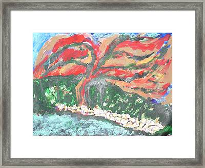 The Red Tree Framed Print by Esther Newman-Cohen