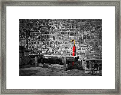 The Red Umbrella Framed Print by Kaye Menner