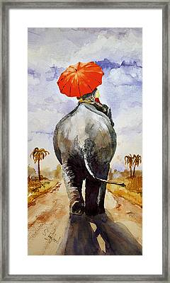 Framed Print featuring the painting The Red Umbrella by Steven Ponsford