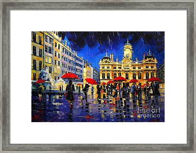The Red Umbrellas Of Lyon Framed Print
