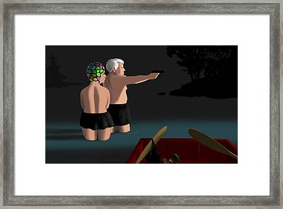 Framed Print featuring the digital art the Redstone incident by Tom Dickson