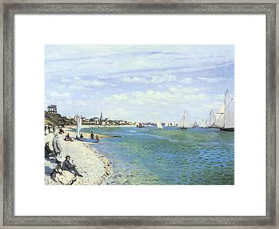 The Regatta At Sainte-adresse Framed Print by Claude Monet