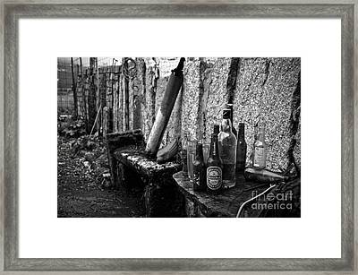 The Remains Of That Distant Party Bw Framed Print