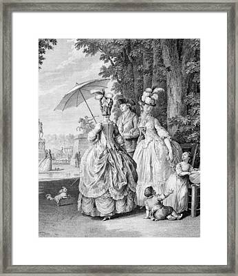 The Rendezvous At Marly, Engraved Framed Print by Jean Michel the Younger Moreau