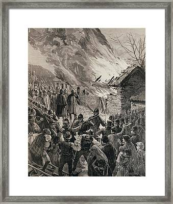 The Rent War In Ireland Burning The Houses Of Evicted Tenants At Glenbeigh, County Derry, From The Framed Print by Amedee Forestier