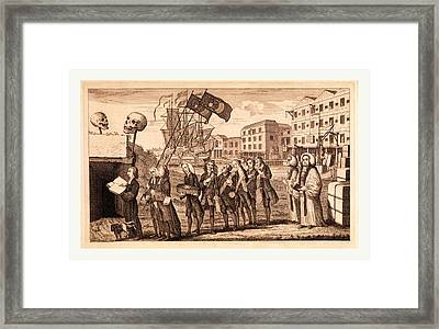 The Repeal Or The Funeral Of Miss Ame=stamp Framed Print by English School