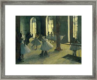 The Repetition In The Dance Class Framed Print by Edgar Degas