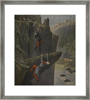 The Rescue Of A Soldier, Illustration Framed Print by Henri Meyer