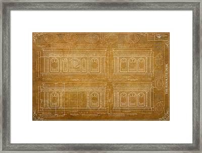 The Resolute Desk Blueprints / Architectural Vintage Framed Print