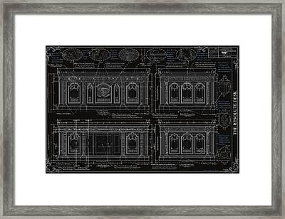 The Resolute Desk Blueprints- Black/white Line Framed Print by Kenneth Perez
