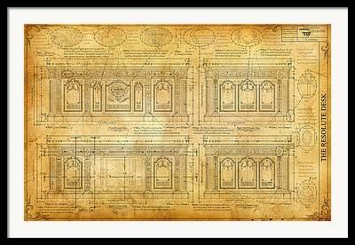 The Resolute Desk Blueprints Drawings Framed Prints