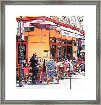 The Restaurant On The Corner Paris Framed Print by Jan Matson