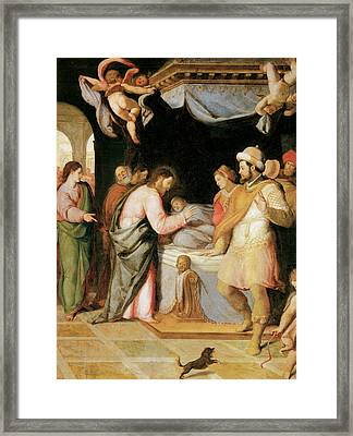 The Resurrection Of Jairus's Daughter Framed Print by Santi Di tito