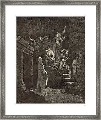 The Resurrection Of Lazarus Framed Print by Antique Engravings