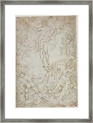 The Resurrection Santi Di Tito, Italian Framed Print