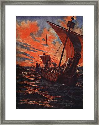 The Return Of The Vikings Framed Print by John Harris Valda