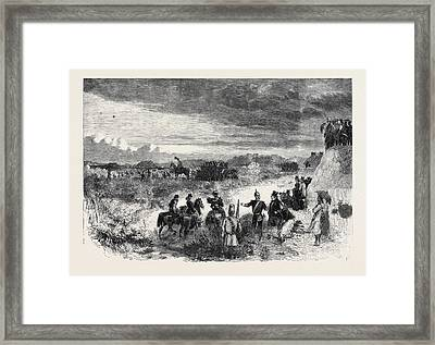 The Review On Saturday Last At Wimbledon Common Skirmishers Framed Print by English School