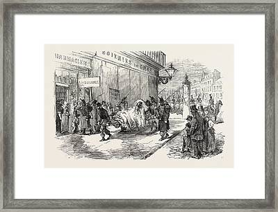 The Revolution In France Taking The Wounded To The Ambulance Framed Print by French School