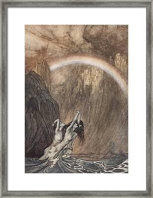 The Rhine S Fair Children Bewailing Their Lost Gold Weep Framed Print by Arthur Rackham
