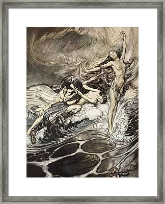 The Rhinemaidens Obtain Possession Of The Ring And Bear It Off In Triumph Framed Print by Arthur Rackham