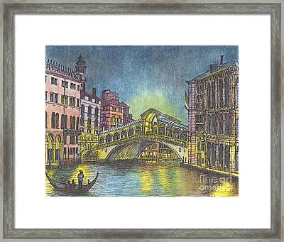 Relections Of Light And The Rialto Bridge An Evening In Venice  Framed Print