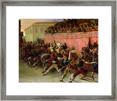 The Riderless Racers At Rome Framed Print by Theodore Gericault