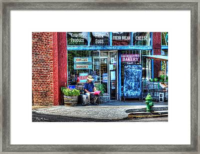 Figure On Bench - The Right Corner Framed Print by Barry Jones