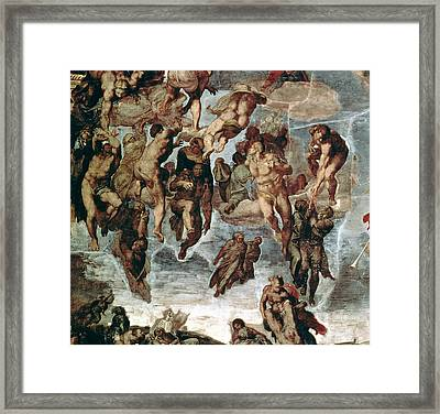 The Righteous Drawn Up To Heaven, Detail From The Last Judgement, In The Sistine Chapel, C.1508-12 Framed Print