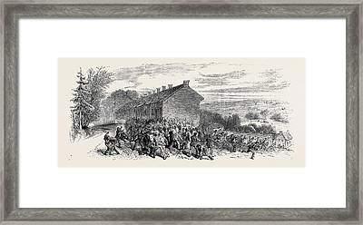 The Riots Near Sheffield Police Charging The Mob Framed Print by English School
