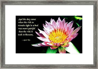 The Risk Framed Print by Mike Flynn